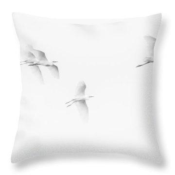 Egrets White On White B/w Throw Pillow