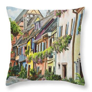 Eguisheim In Bloom Throw Pillow by Charlotte Blanchard