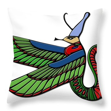 Egyptian Demon Throw Pillow by Michal Boubin