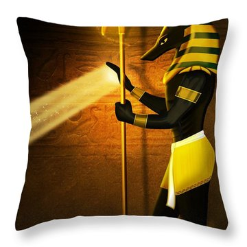 Egyptian God Anubis Throw Pillow
