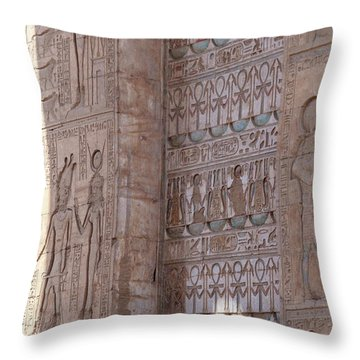 Throw Pillow featuring the photograph Egyptian Hieroglyphs by Silvia Bruno