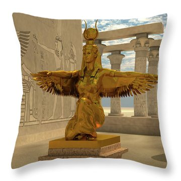 Egyptian Isis Statue Throw Pillow