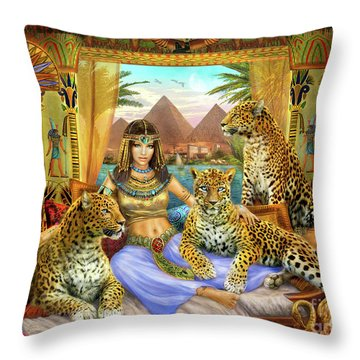 Egyptian Queen With Leopard Throw Pillow