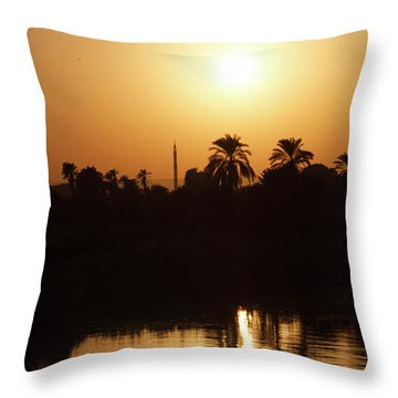 Throw Pillow featuring the photograph Egyptian Sunset by Silvia Bruno