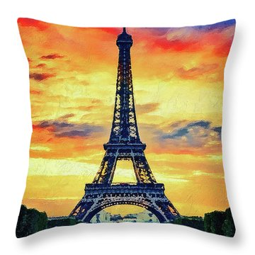Eifel Tower In Paris Throw Pillow by PixBreak Art
