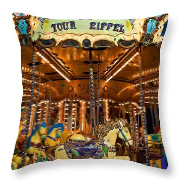 Eiffel Carrousel Throw Pillow