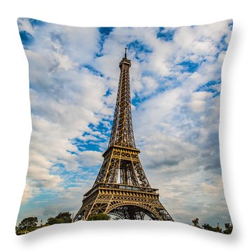 Throw Pillow featuring the photograph Eiffel Clouds by Kim Wilson