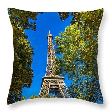 Throw Pillow featuring the photograph Eiffel Hiding by Kim Wilson