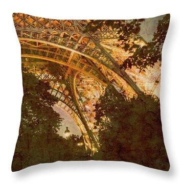 Paris, France - Eiffel Oldplate II Throw Pillow