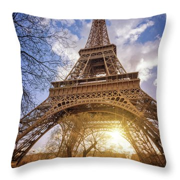 Throw Pillow featuring the photograph Eiffel Sunset by Delphimages Photo Creations