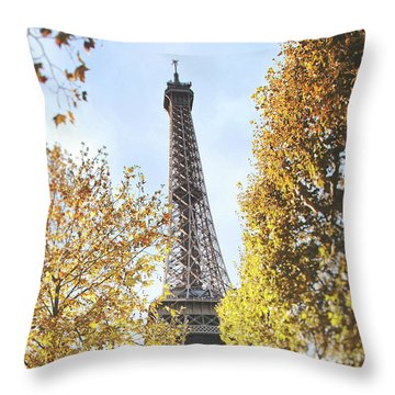 Throw Pillow featuring the photograph Eiffel Tower Amidst The Autumn Foliage by Ivy Ho