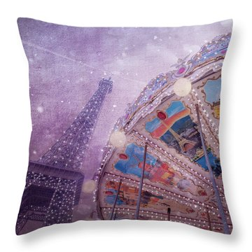 Throw Pillow featuring the photograph Eiffel Tower And Carousel by Clare Bambers