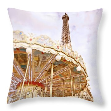 Throw Pillow featuring the photograph Eiffel Tower And Carousel by Ivy Ho