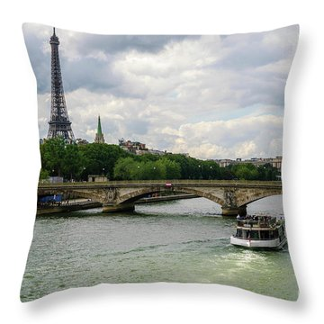Eiffel Tower And The River Seine Throw Pillow