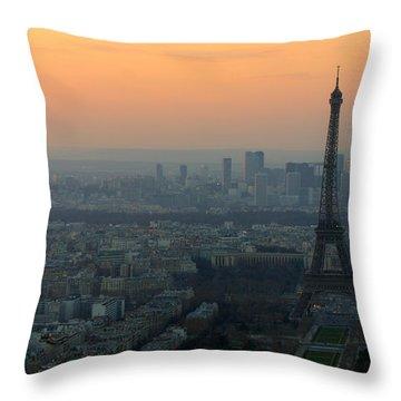 Eiffel Tower At Dusk Throw Pillow by Sebastian Musial
