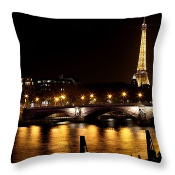 Throw Pillow featuring the photograph Eiffel Tower At Night 1 by Andrew Fare