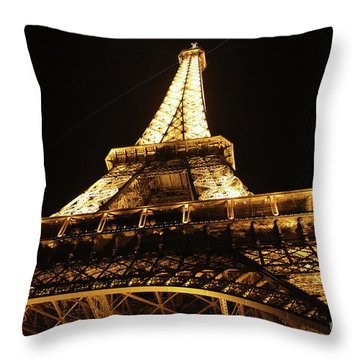 Throw Pillow featuring the photograph Eiffel Tower At Night by MGL Meiklejohn Graphics Licensing