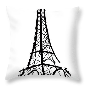 Eiffel Tower Black And White Throw Pillow by Robyn Saunders