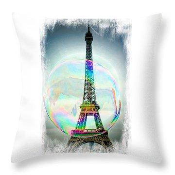 Eiffel Tower Bubble Throw Pillow by Lilliana Mendez
