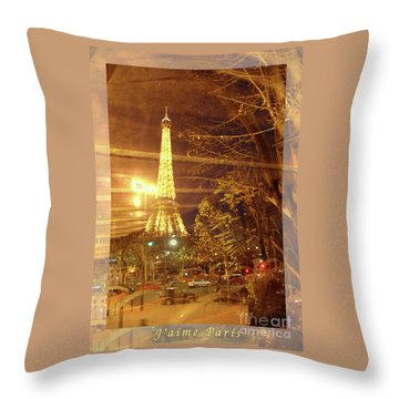 Eiffel Tower By Bus Tour Greeting Card Poster Throw Pillow by Felipe Adan Lerma