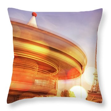 Eiffel Tower Carousel Throw Pillow