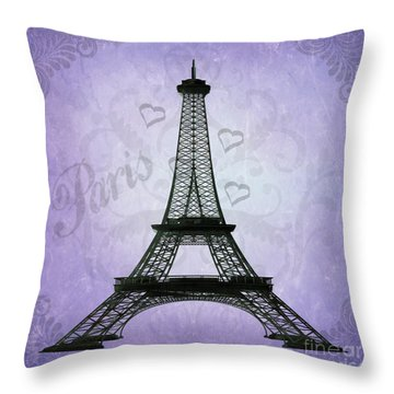 Eiffel Tower Collage Purple Throw Pillow