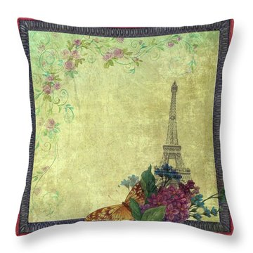 Eiffel Tower Faded Floral With Swirls Throw Pillow