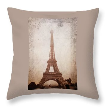 Throw Pillow featuring the digital art Eiffel Tower In The Mist by Christina Lihani