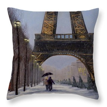 Eiffel Tower In The Snow Throw Pillow