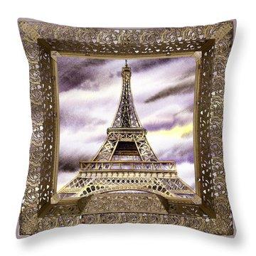 Throw Pillow featuring the painting Eiffel Tower Laces Iv  by Irina Sztukowski