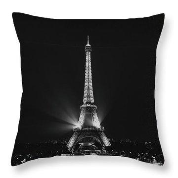 Eiffel Tower Noir Throw Pillow by Melanie Alexandra Price