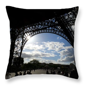 Eiffel Tower Sky Throw Pillow by Rosie Brown