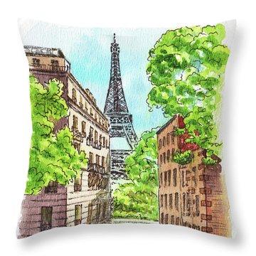 Throw Pillow featuring the painting Eiffel Tower Summer Paris Day by Irina Sztukowski