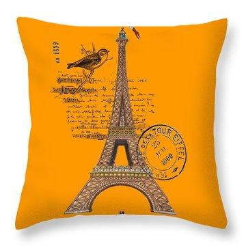 Eiffel Tower T Shirt Design Throw Pillow