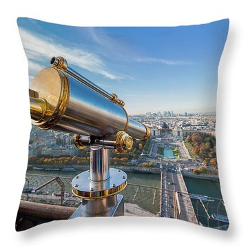 Eiffel Tower Telescope 2 Throw Pillow
