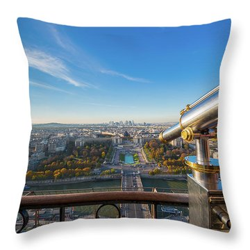 Eiffel Tower Telescope Throw Pillow