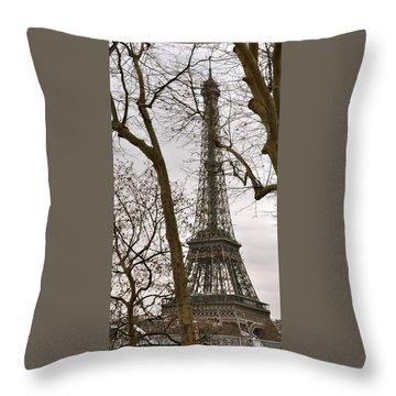 Eiffel Tower Through Branches Throw Pillow