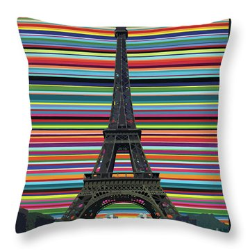 Throw Pillow featuring the painting Eiffel Tower With Lines by Carla Bank