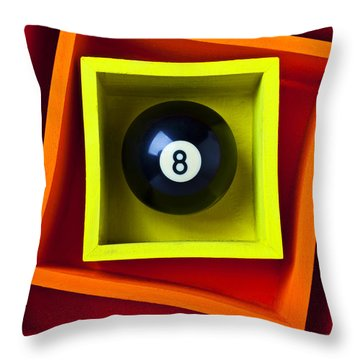 Eight Ball In Box Throw Pillow by Garry Gay