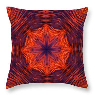 Eight Petal Orange Kaleidoscope Throw Pillow