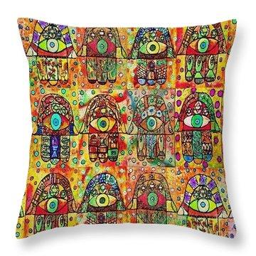 -eighteen Vintage Chai Hamsas Throw Pillow
