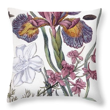 Eighteenth Century Engraving Of Flowers Throw Pillow