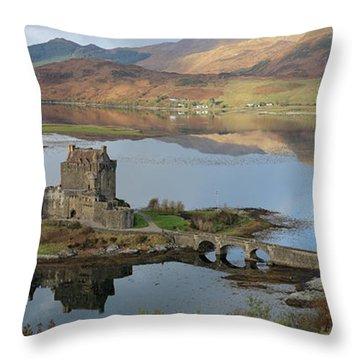 Eilean Donan Castle In Autumn - Panorama Throw Pillow