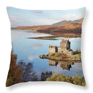 Throw Pillow featuring the photograph Eilean Donan Castle Panorama In Autumn by Grant Glendinning
