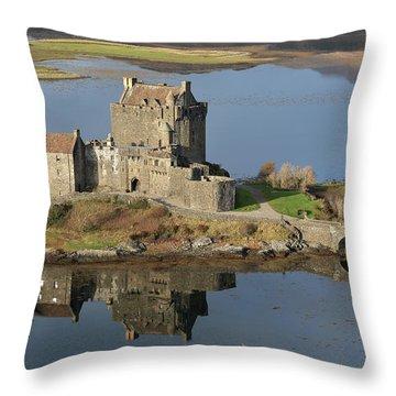 Eilean Donan Castle Reflections Throw Pillow