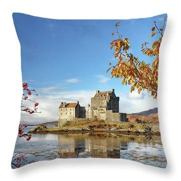 Throw Pillow featuring the photograph Eilean Donan In Autumn by Grant Glendinning
