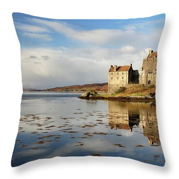 Throw Pillow featuring the photograph Eilean Donan - Loch Duich Reflection - Dornie by Grant Glendinning