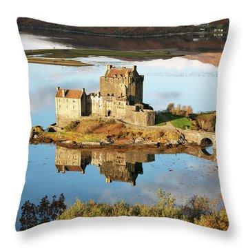Throw Pillow featuring the photograph Eilean Donan - Loch Duich Reflection - Skye And Lochalsh by Grant Glendinning