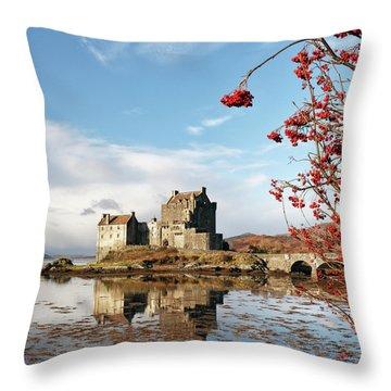 Throw Pillow featuring the photograph Eilean Donan - Loch Duich Reflection - Skye by Grant Glendinning
