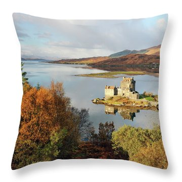 Throw Pillow featuring the photograph Eilean Donan Reflection In Autumn by Grant Glendinning